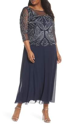 Pisarro Nights Illusion Neck Beaded A-Line Gown