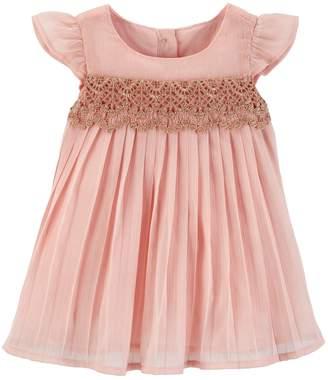 Osh Kosh Oshkosh Bgosh Baby Girl Lace Pleated Chiffon Dress