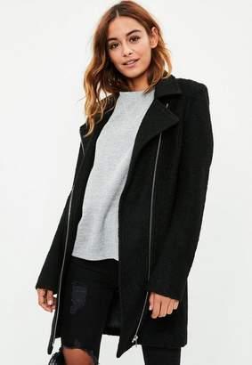 Missguided Tall Black Faux Wool Biker Coat