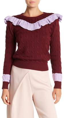 AFTER MARKET Preppy Flared Crew Neck Sweater