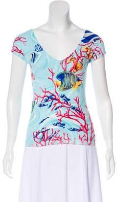 Blumarine Fish Print Sleeveless Top