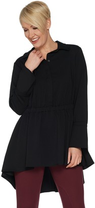 Du Jour Long Sleeve Hi-Low Hem Woven Blouse with Slit Cuffs