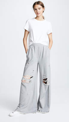 Alexander Wang Dry Distressed Wide Leg Pants