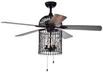 Bed Bath & Beyond Blodwyn 52-Inch 3-Light Metal Cage Ceiling Fan in Black