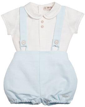 Pili Carrera Short-Sleeve Linen Shirt w/ Bubble Shorts, Blue, Size 3-18 Months $140 thestylecure.com
