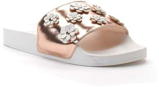 Candies Candie's Women's Metallic Floral Applique Slide Sandals