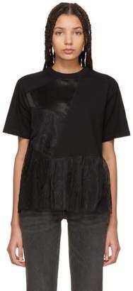 McQ Black Cut-Up Flared T-Shirt