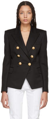Balmain Black Six-Button Cinched Blazer