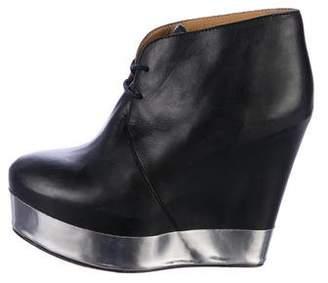 Acne Studios Leather Platform Wedge Booties