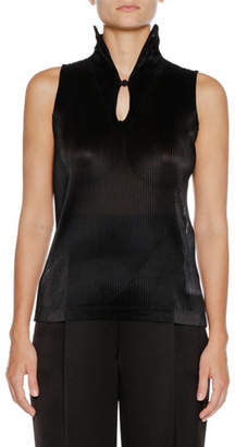 Giorgio Armani Sleeveless Jersey Top w/ Ruffle Necklace