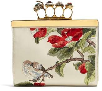 Alexander McQueen Knuckle Floral Embroidered Clutch - Womens - White Multi
