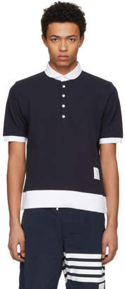 Thom Browne Navy Classic Pique Polo