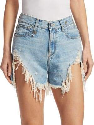 R 13 Shredded Slouch Denim Shorts