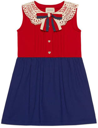 Gucci Two-Tone Pintucked Dress w/ Lace Collar & Sylvie Web Bow, Size 4-12