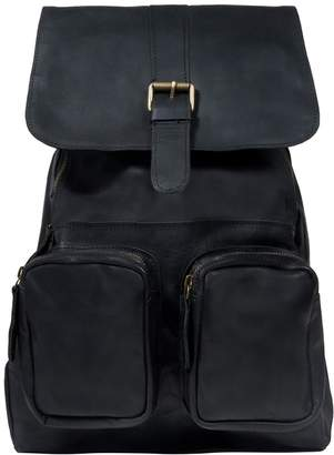 MAHI Leather - Leather Roma Backpack/Rucksack Womens in Ebony Black