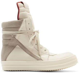 Rick Owens Off-White and Grey Geobasket Sneakers