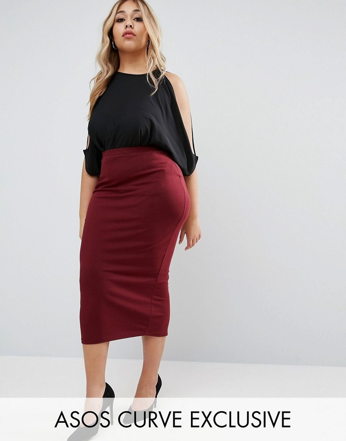 asos midi pencil skirt in jersey shopstyle co uk