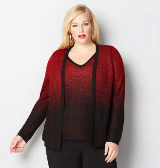 Avenue Red Lurex 2fer Cardigan