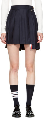Thom Browne Navy Dropped Back Pleated Miniskirt $1,150 thestylecure.com