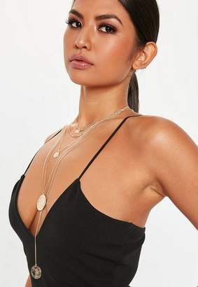 Missguided Gold Look Coin Multirow Necklace