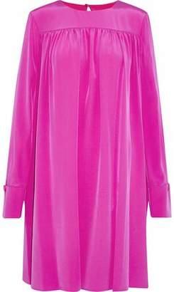 Diane von Furstenberg Gathered Washed-Silk Mini Dress