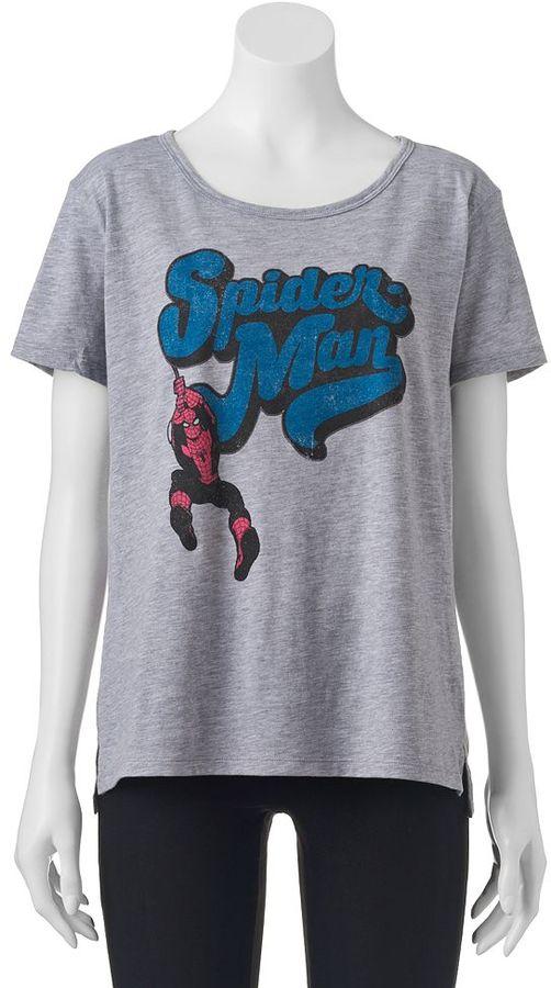 Juniors' Marvel Spider-Man High-Low Graphic Tee