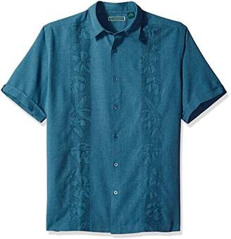 Cubavera Men's Short Sleeve Point-Collar Embroidered-Panel Button-Down Shirt