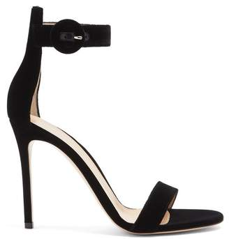 Gianvito Rossi Portofino 105 Suede Sandals - Womens - Black