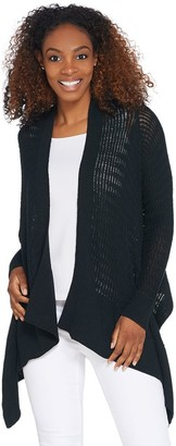 Du Jour Long-Sleeve Drape Front Open Stitch Cardigan