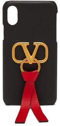 Valentino V Ring Leather Iphone X Case - Womens - Black