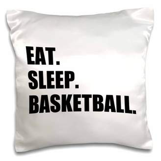 3dRose Eat Sleep Basketball - passionate about team sport - sporty Bball game, Pillow Case, 16 by 16-inch