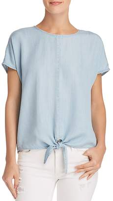 Aqua Tie-Front Chambray Top - 100% Exclusive