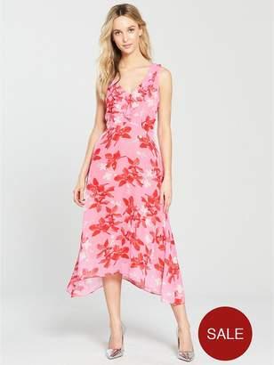 Wallis Ruffle Hanky Hem Midi Dress - Pink