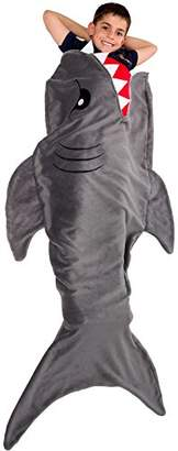 Silver Lilly Shark Tail Blanket - Plush Animal Sleeping Bag Blanket for Kids by (Grey)
