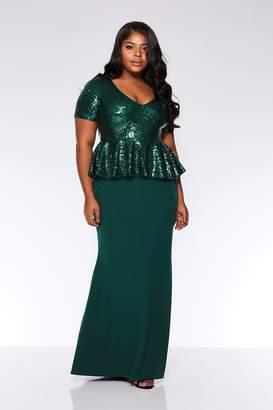 604b2b3aedfe8f Quiz Curve Emerald Sequin Peplum Maxi Dress