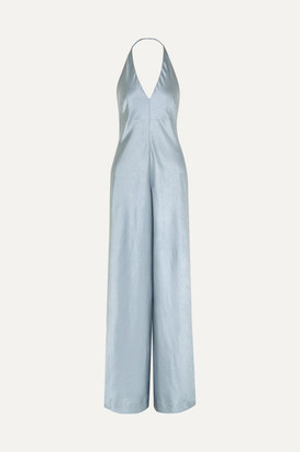 Alexander Wang Halterneck Crinkled-satin Wide-leg Jumpsuit - Light blue