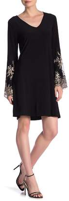 MSK Embroidered Bell Sleeve Shift Dress