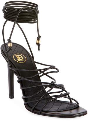 Balmain Mikki Leather Strappy Wrap Sandals