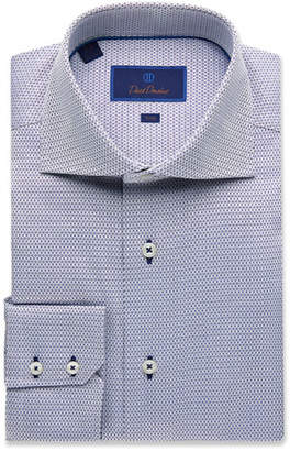 David Donahue Men's Trim-Fit Mini Diamond Dress Shirt