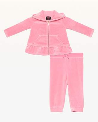 Juicy Couture Chain Stitch Ruffled Velour Track Set for Baby