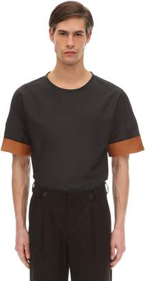 Salvatore Ferragamo Tech T-shirt W/ Leather Cuffs