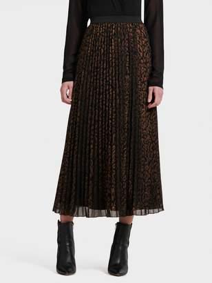 DKNY Leopard-Print Pleated Chiffon Maxi Skirt