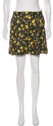 Band Of Outsiders Floral Print Mini Skirt