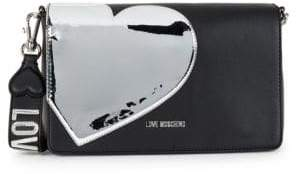 Love Moschino Metallic Heart Clutch Crossbody Bag