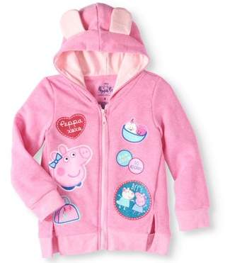 Peppa Pig Little Girls' 4-6X 3D Hoodie With Glitter Patches
