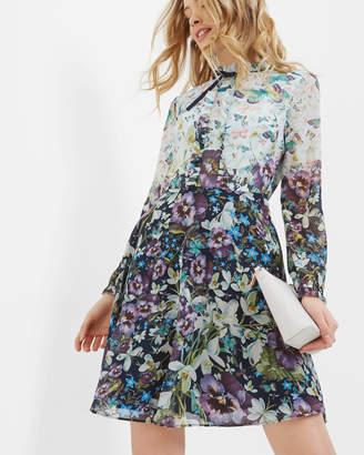 Ted Baker Entangled Enchantment Ruffled Neck Dress Dark Blue