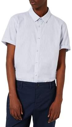 Topman Crosshatch Cotton & Linen Shirt