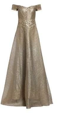Rene Ruiz Metallic Organza Embroidered Off-The-Shoulder Gown