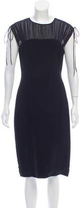 Prada Silk-Paneled Midi Dress