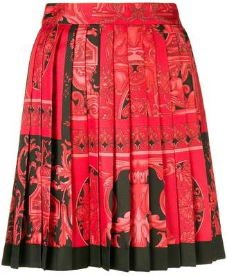 Versace Baroque-print pleated skirt